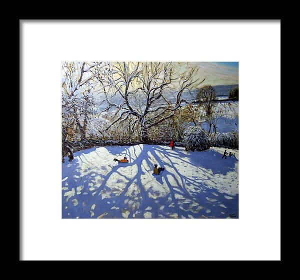 Sledge Framed Print featuring the painting Large Tree And Tobogganers by Andrew Macara