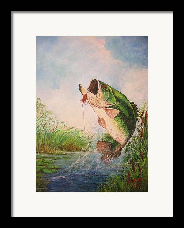 Largemouth Framed Print featuring the painting Largemouth Bass by Jose Lugo