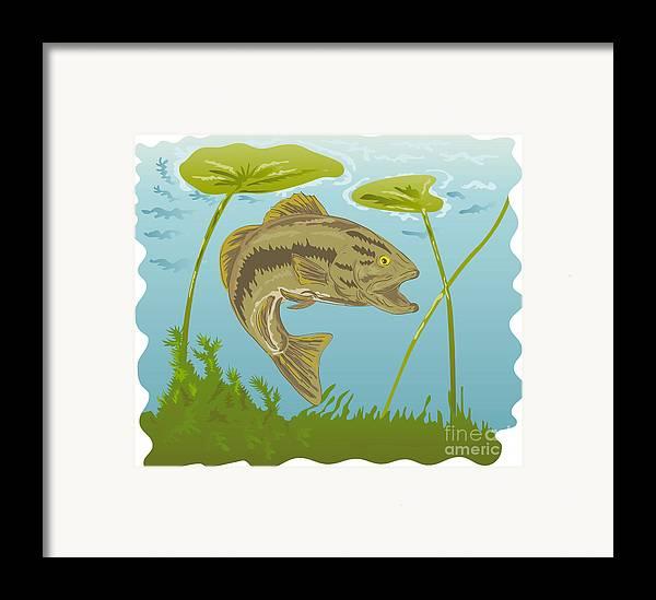 Largemouth Framed Print featuring the digital art Largemouth Bass Jumping by Aloysius Patrimonio