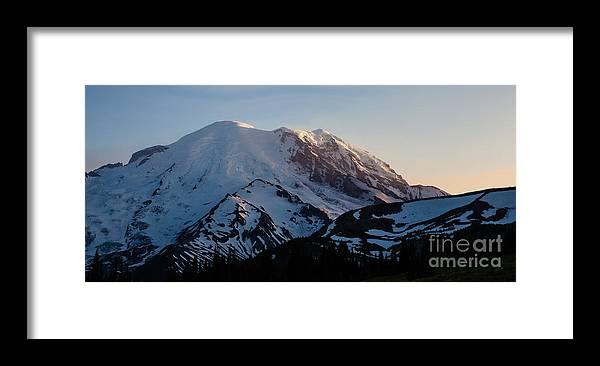 Rainier Framed Print featuring the photograph Last Light by Mike Reid