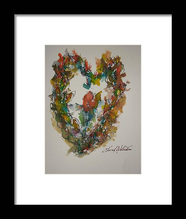 Hearts On Fire Framed Print featuring the painting Lasting Heart My Love by Edward Wolverton