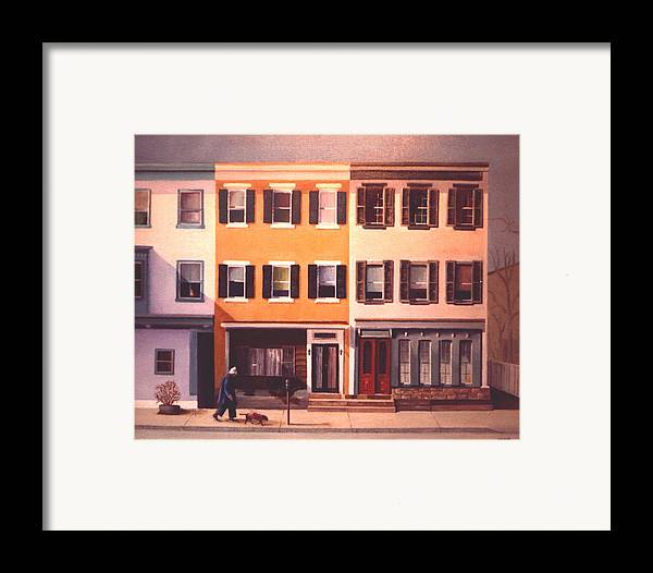 Lamberville Framed Print featuring the painting Late Afternoon On Church Street by Robert Henne