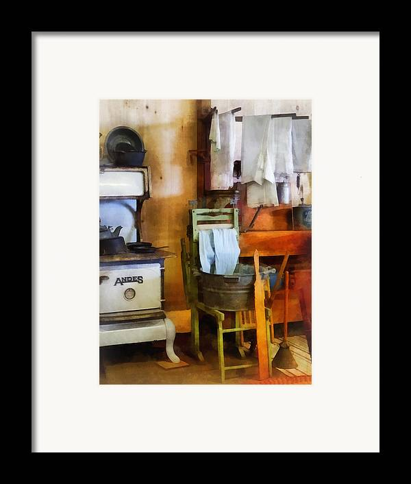 Farmhouse Framed Print featuring the photograph Laundry Drying In Kitchen by Susan Savad
