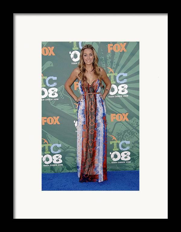 Arrivals - 2008 Teen Choice Awards Framed Print featuring the photograph Lauren Conrad Wearing A Dress by Everett
