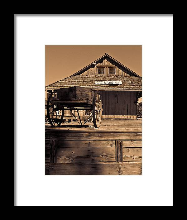 Laws Framed Print featuring the photograph Laws Ca Historic Depot by Tony and Kristi Middleton