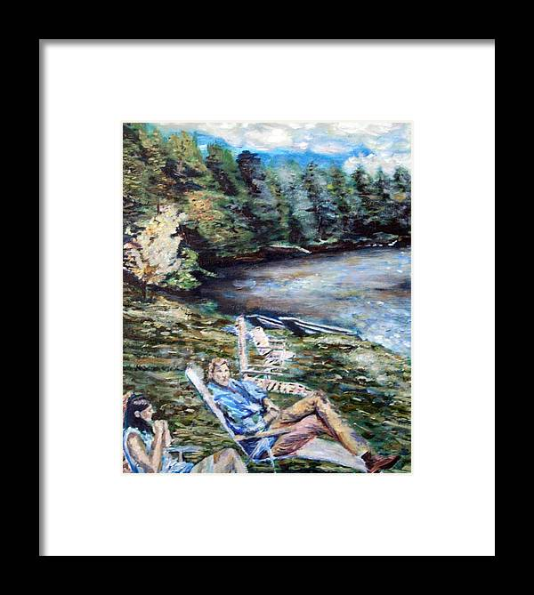 Landscape Framed Print featuring the painting Lazy Day On The Mill Pond by Denny Morreale