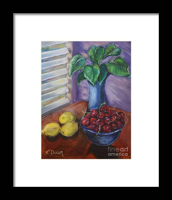 Still Life Framed Print featuring the painting Leaves Cherries And Lemons by Ginger Dixon