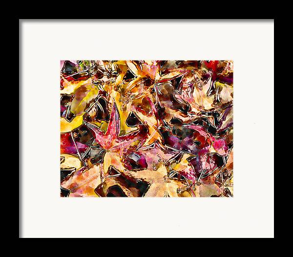 Leaves Framed Print featuring the digital art Leaves On Acid by Marilyn Sholin