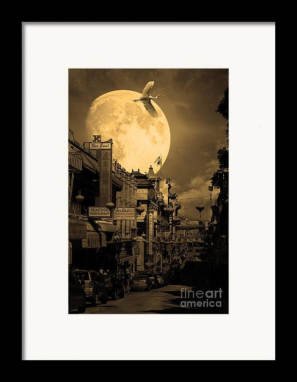 Black And White Framed Print featuring the photograph Legend Of The Great White Phoenix Of Chinatown . 7d7172 . Sepia by Wingsdomain Art and Photography