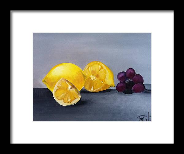 Lemons Framed Print featuring the painting Lemons And Grapes by Rita Fernandes