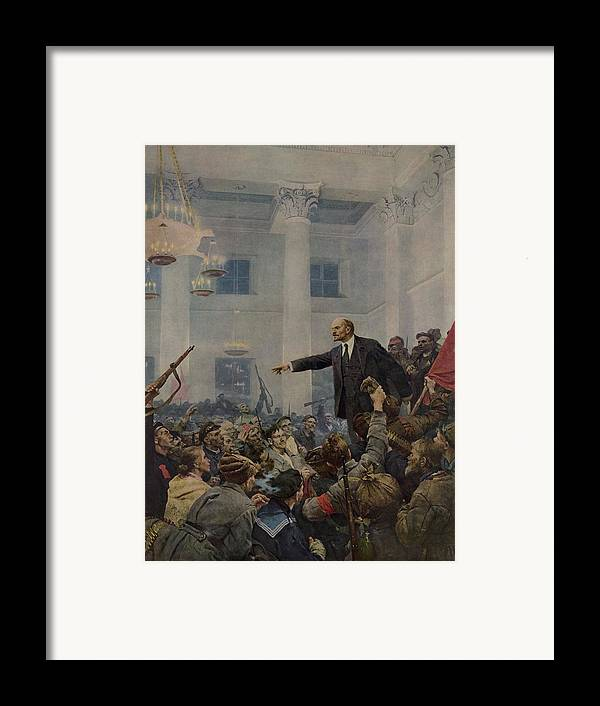 History Framed Print featuring the photograph Lenin 1870-1924 Declaring Power by Everett