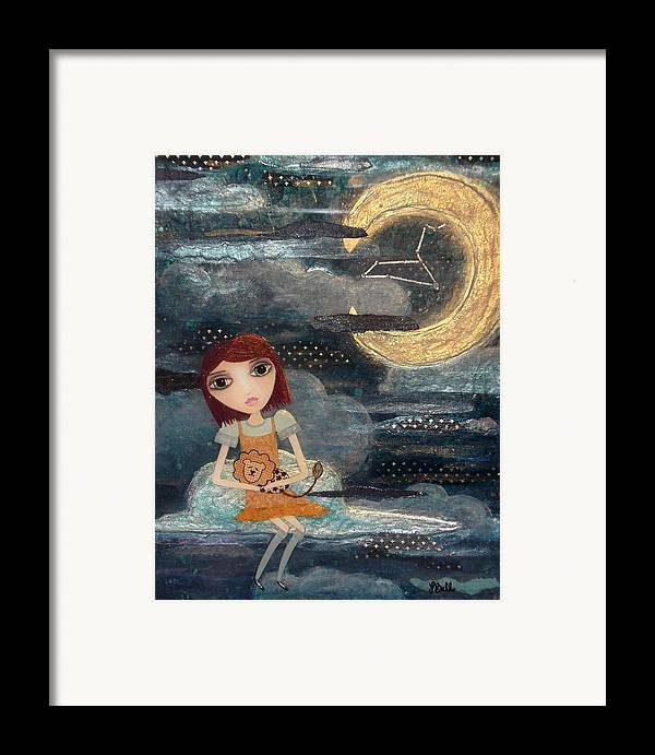 Zodiac Framed Print featuring the painting Leo by Laura Bell