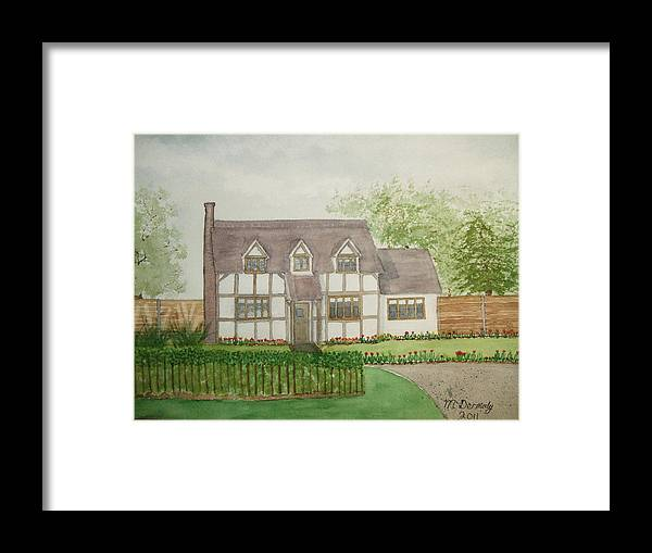 Cottage Scene Framed Print featuring the painting Leominster Cottage by Mark Dermody