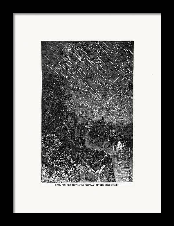 1833 Framed Print featuring the photograph Leonid Meteor Shower, 1833 by Granger
