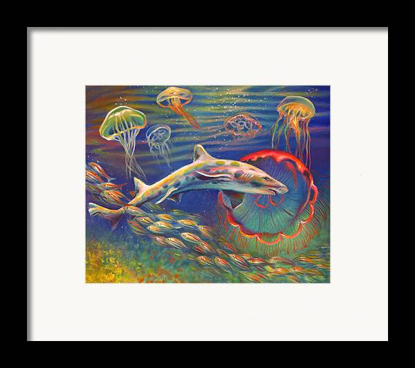 Leopard Shark Framed Print featuring the painting Leopard Shark And Jellyfish by Nancy Tilles