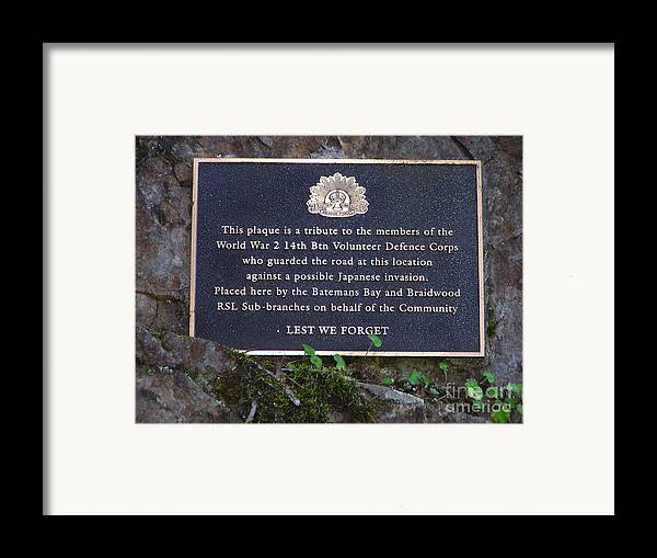 Plaque Framed Print featuring the photograph Lest We Forget by Joanne Kocwin