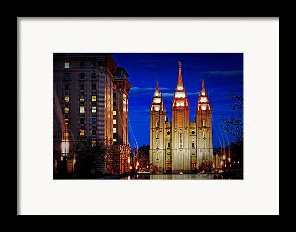 Salt Lake Temple Flowers Light Trails Heavenly Light Framed Print featuring the photograph Let Your Light Shine by La Rae Roberts