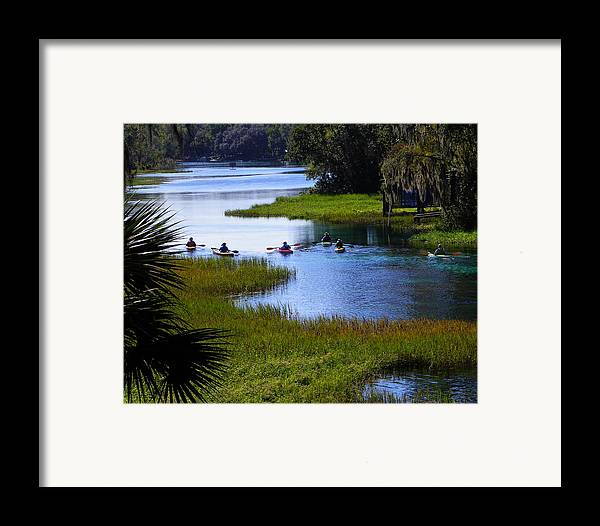 Nature Framed Print featuring the photograph Let's Kayak by Judy Wanamaker