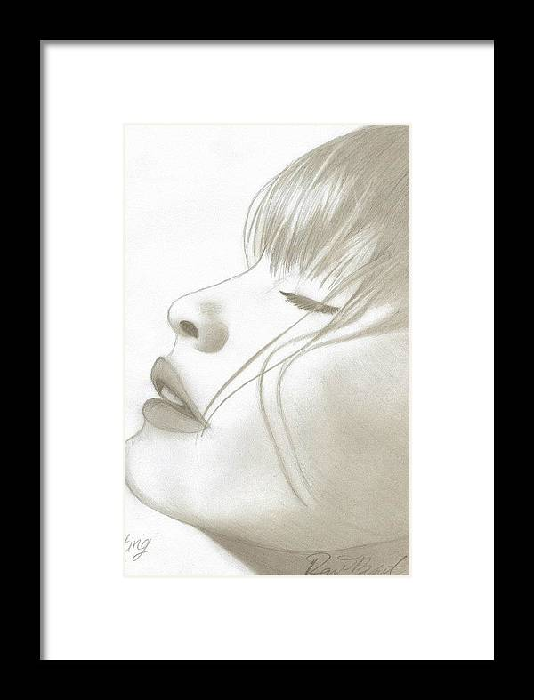 Face Breathe Framed Print featuring the drawing Letting Go by Raine Bryant
