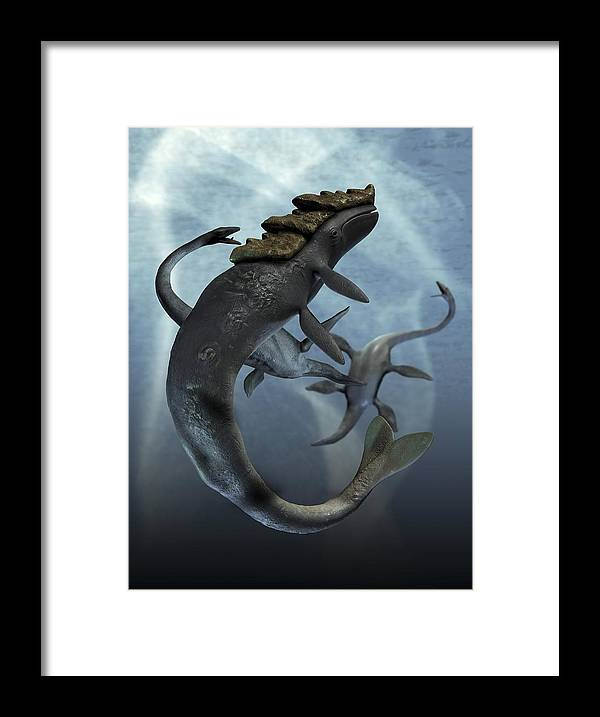 Vertical Framed Print featuring the digital art Leviathan And Plesiosaur, Artwork by Victor Habbick Visions