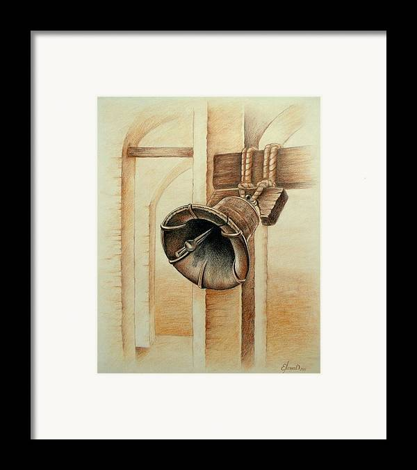 Bell Framed Print featuring the drawing Liberty Bell by Lena Day