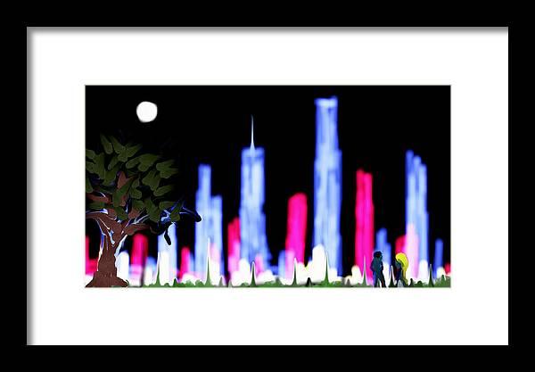 Light City Framed Print featuring the digital art Light City by Bud G Ball