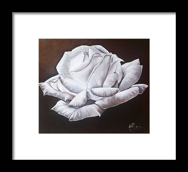 Still Life Framed Print featuring the painting Light In The Darkness by Natalia Tejera