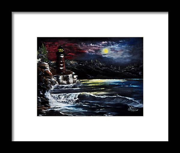 Night Framed Print featuring the painting Light In The Night by Darlene Bell