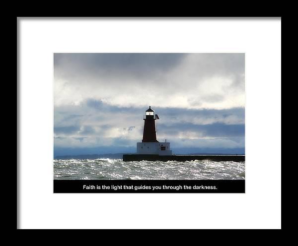 Lighthouse Framed Print featuring the photograph Lighthouse Faith by Mark J Seefeldt