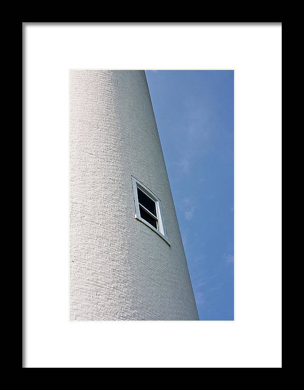 White Framed Print featuring the photograph Lighthouse Window by Jeffrey Auger