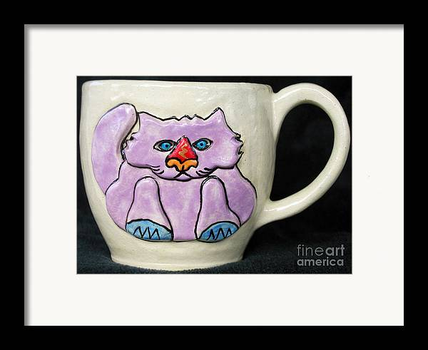 Cat Framed Print featuring the ceramic art Lightning Nose Kitty Mug by Joyce Jackson