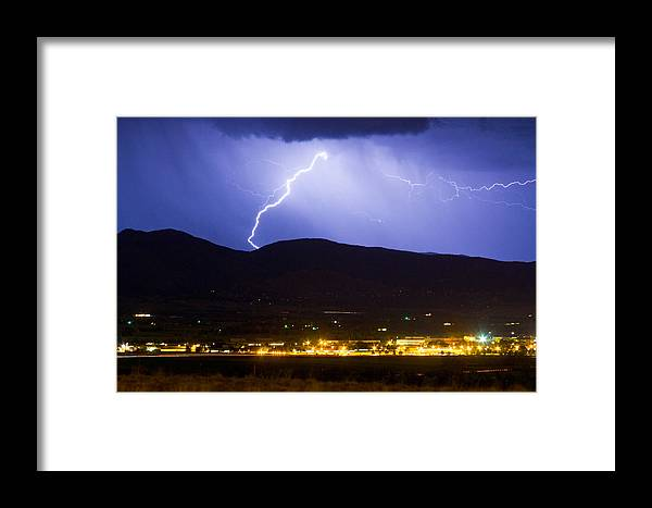 decorative Canvas Prints Framed Print featuring the photograph Lightning Striking Over Ibm Boulder Co 1 by James BO Insogna