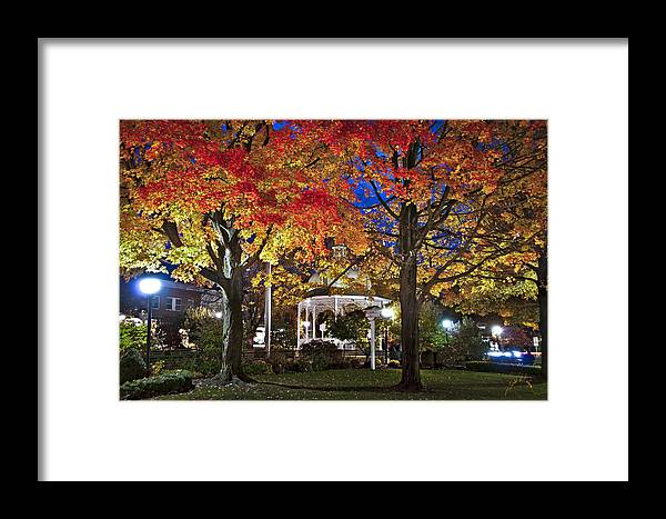 Ligonier Framed Print featuring the photograph Ligonier Diamond At Night by Williams-Cairns Photography LLC