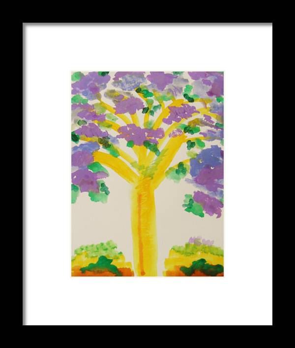 Tree Framed Print featuring the painting Lilac Lavender Tree by Mary Carol Williams