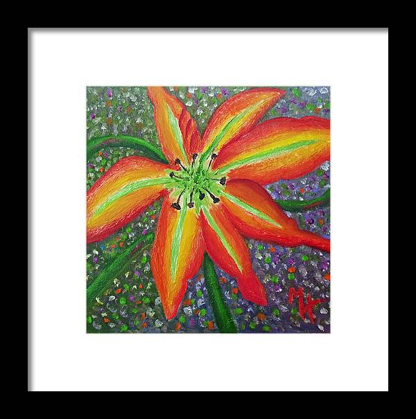 Flower Painting Framed Print featuring the painting Lily In My Garden by Margaret Harmon