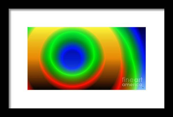 Gradient Framed Print featuring the digital art Lime Blue and Tangerine by Ron Bissett