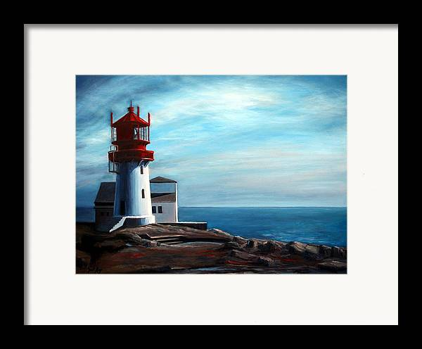 Lighthouse Framed Print featuring the painting Lindesnes Lighthouse by Janet King