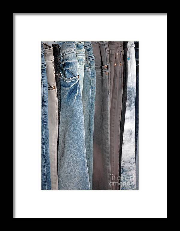 Blue Framed Print featuring the photograph Line Of Jeans by Antoni Halim
