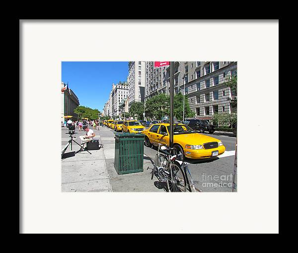Taxis Framed Print featuring the photograph Lined Up For Business by Randi Shenkman