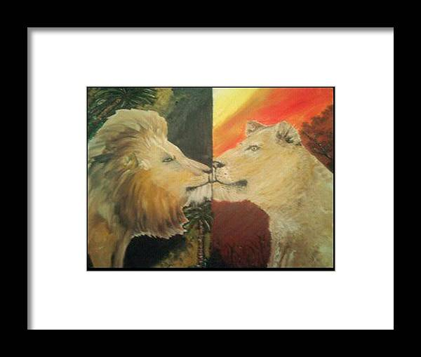 Lions Framed Print featuring the painting Lion N Lionness by AKIMALYAH Publishing