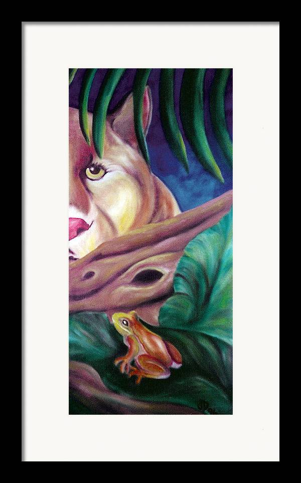 Landscape Framed Print featuring the drawing Lioness And Frog by Juliana Dube