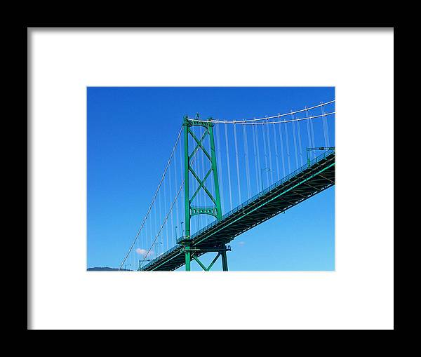 Vancouver Framed Print featuring the photograph Lionsgate Bridge by Judy Wanamaker
