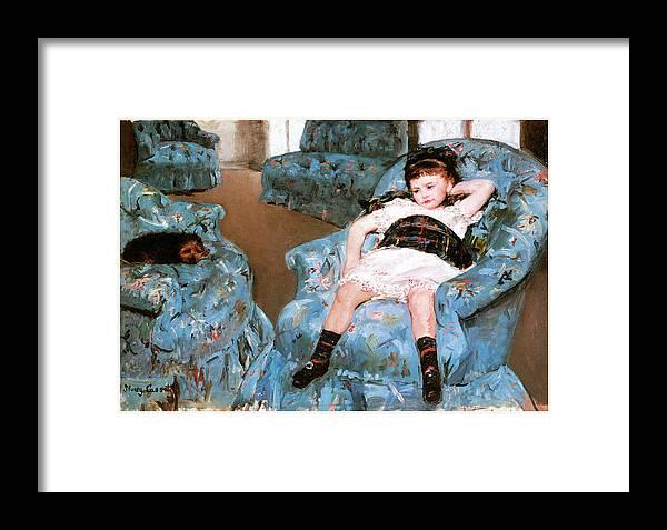 Mary Cassatt Framed Print featuring the painting Little Girl In A Blue Armchair by Mary Cassatt