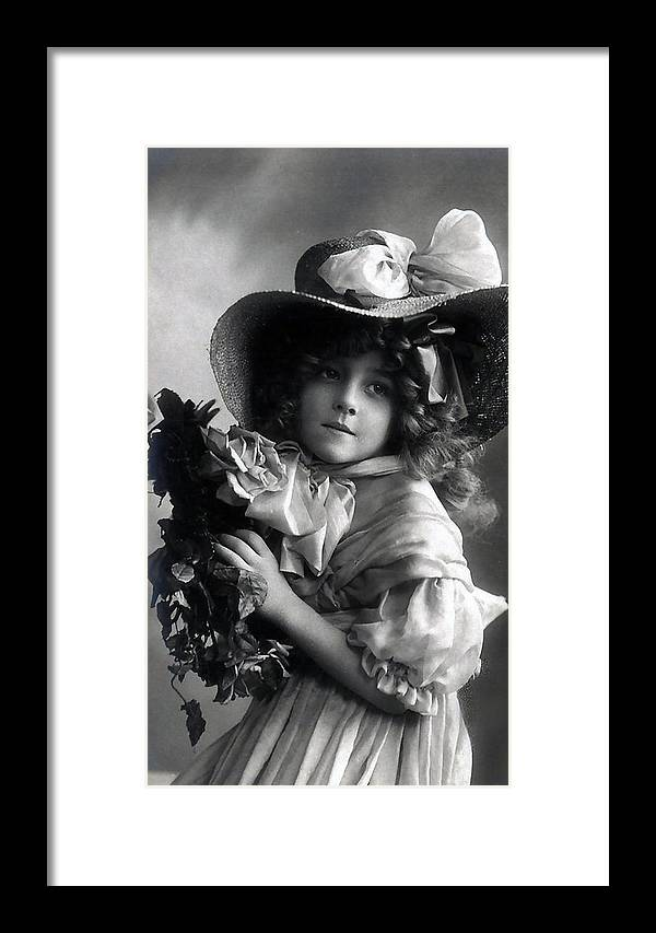 Photograph Vintage Girl Female Angel Beauty Little Child Nice Face Portrait Black White Bw Framed Print featuring the photograph Little Lady by Steve K