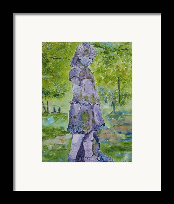 Statue Portrait Framed Print featuring the painting Little Nanny by Patsy Sharpe