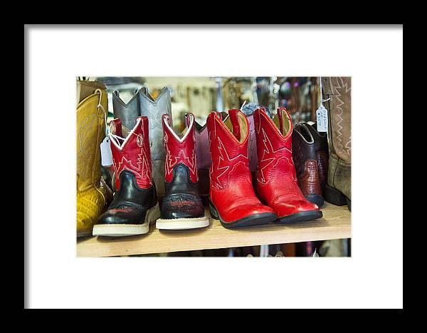 Little Framed Print featuring the photograph Little Tykes Cowboy Boots by Douglas Barnett