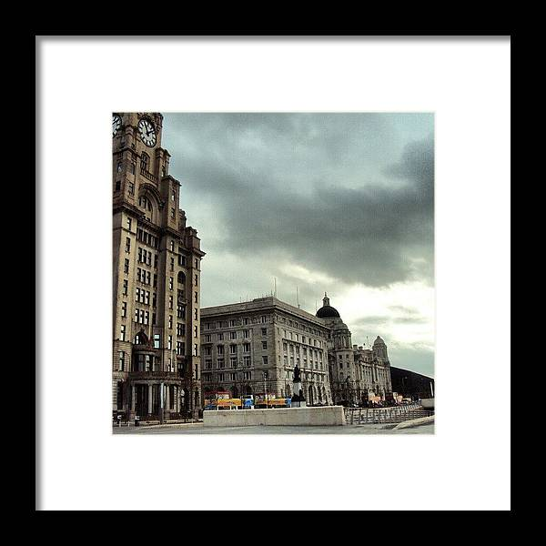 Buildings Framed Print featuring the photograph #liverpool #sky #clouds #buildings by Abdelrahman Alawwad