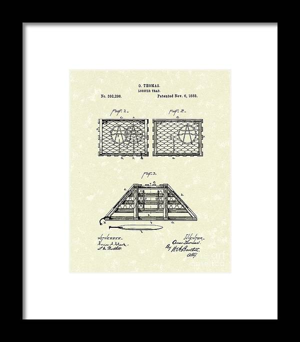 Thomas Framed Print featuring the drawing Lobster Trap 1888 Patent Art by Prior Art Design