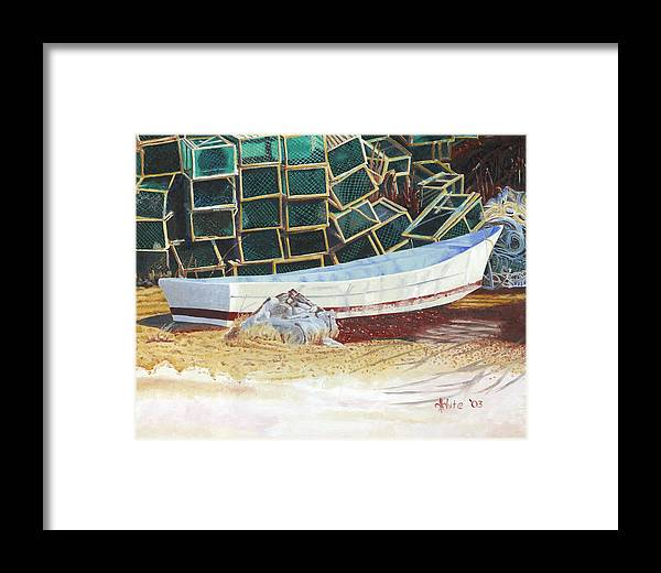 Dory Framed Print featuring the painting Lobster Traps And Dory by Dominic White