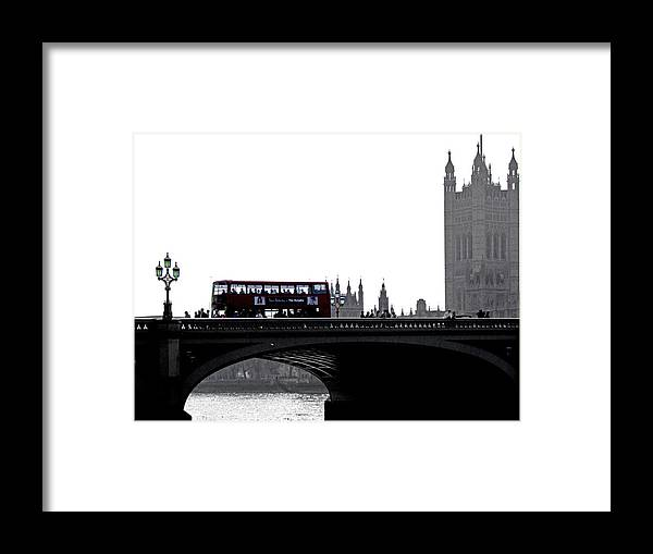 London England Europe City Black White Lamp Bridge River Thames Bus Framed Print featuring the photograph London 1 by Bea Kovacs